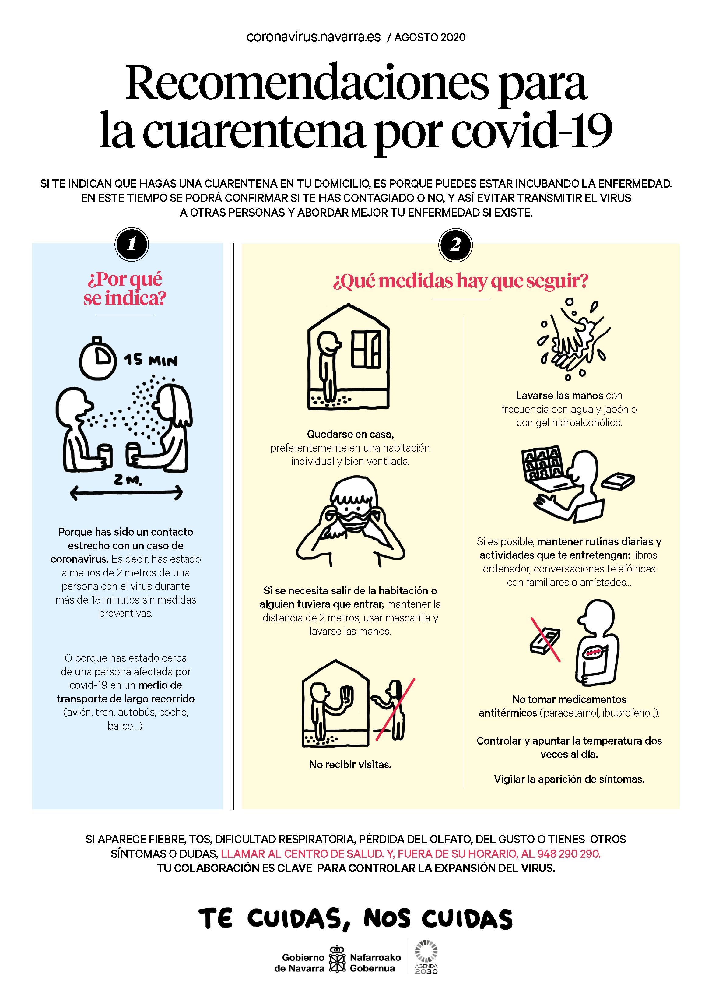 Infografía con recomendaciones para la cuarentena por covid-19